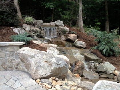 backyard waterfall hardcscape