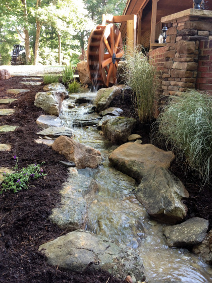 backyard stream hardscape