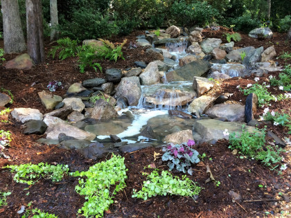 backyard waterfall landscape