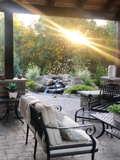 Patio with waterfall scene